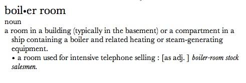 A boiler room definíciója az Oxford American szótárból
