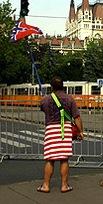 Amerika-ellenes tüntető a Parlament előtt. Fotó: Nagy Attila/index