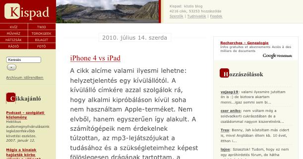 Kispad.hu az iPhone 4-en